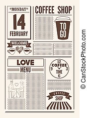 Coffee Shop typographical vintage newspaper style poster or template of menu for Valentine's Day. Retro vector illustration.