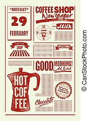 Coffee Shop typographical vintage newspaper style poster or template of menu. Retro vector illustration.