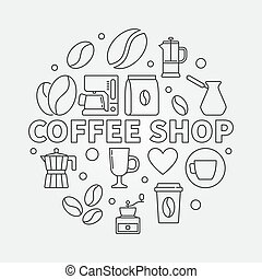 Coffee shop vector round illustration in thin line style -...