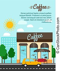 Coffee shop with city landscape banner