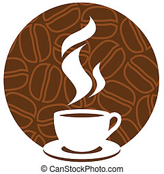 Coffee sign - Coffee cup with aroma steam on a brown...