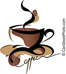 Coffee logo sign, vector illustration isolated on white background