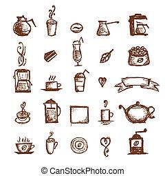 Coffee sketch, design elements