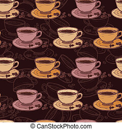 Coffee sketch seamless pattern