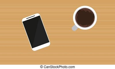 Coffee, smartphone and pencil on wooden table HD animation -...