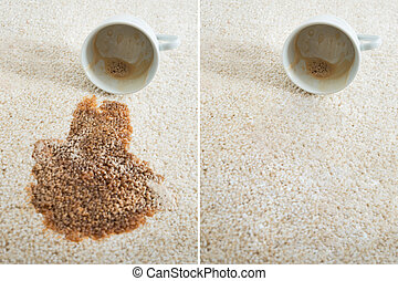 Coffee Spilling From Cup On Carpet