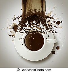 coffee spilling out of a cup 3d as vintage style