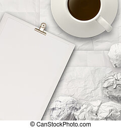 coffee spilling out of a cup 3d on crumpled paper backgrouund