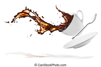 coffee splash - cup of spilling coffee creating splash