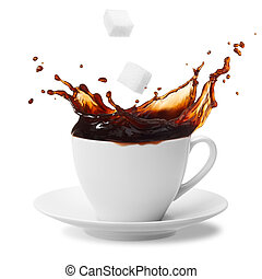 coffee splashing - sugar cube being dropped into coffee ...