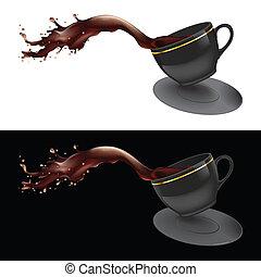Vector illustration of coffee splashing out of a mug. Black design.