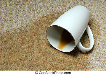 Mug of coffee knock over on carpet.