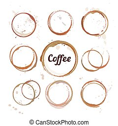 Coffee stain circles - Vector set of coffee stain circles,...