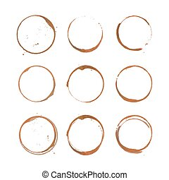 Coffee stain circles set - Collection of coffee stain...