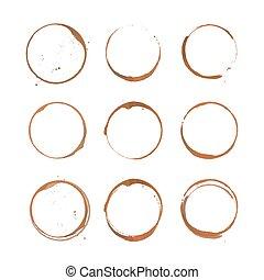 Coffee stain circles set
