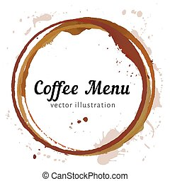 Vector coffee menu cover with coffe stain circles, splashes and spot isolated on white background. Watercolor hand drawing cup marks.