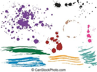 Coffee stain. Colored blobs. Multi colored blots. Isolated...