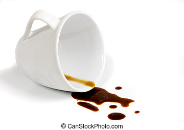 Coffee stain - Cup of coffee isolated on white background