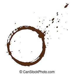 Coffee Stain - Grunge Dirty Splash Coffee Stain Vector...