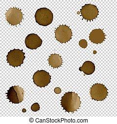 Coffee Stain Set, Vector Illustration