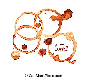 Coffee stain set - Coffee stain on a white background.Coffee...