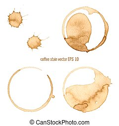 Coffee Stain, Isolated On White Background. Collection of...