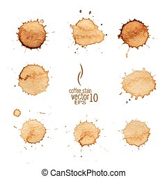 Coffee stain watercolor vector. Coffee stain, isolated on...