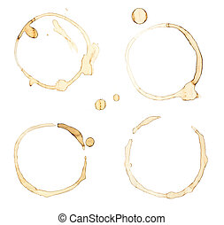 Colection of isolated coffee stains on white background.
