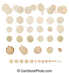 Coffee stains set isolated on white. Different sizes and...