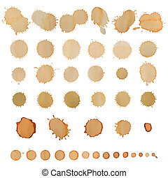 Coffee stains set isolated on white.