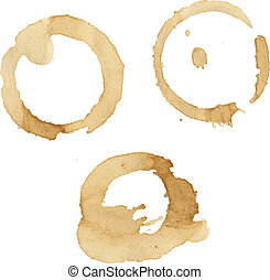 Coffee Stains Set, Vector Illustration