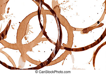 Coffee stains - Close up of coffee cup stains isolated on...