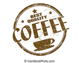 Coffee stamp - Brown grunge rubber stamp with coffee cup and...