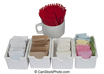 coffee station items, sugar and stirrers isolated on a white...