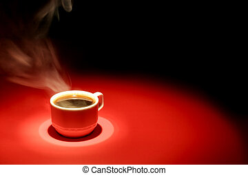 Coffee cup over red black background