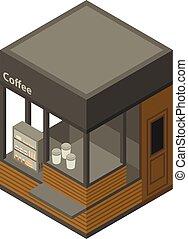 Coffee street shop icon, isometric style
