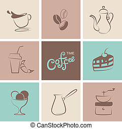 Coffee symbol vector collection