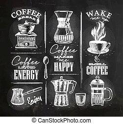 Coffee symbols chalk