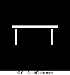 Coffee table icon. Black background with white. Vector...