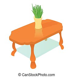 Coffee table icon, cartoon style