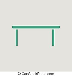 Coffee table icon. Gray background with green. Vector...