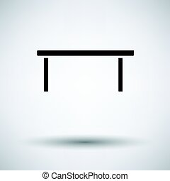 Coffee table icon on gray background, round shadow. Vector...