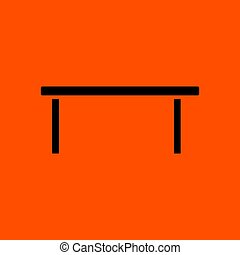 Coffee table icon. Orange background with black. Vector...