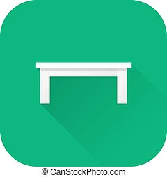 Coffee table icon. Vector. Flat design with long shadow.