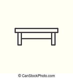 Coffee table line icon isolated on white. Vector...