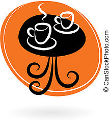 Coffee table with two cups on orange background - vector...