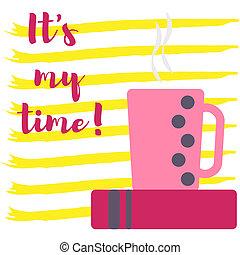 coffee., tasse, il, temps, stripes., mon