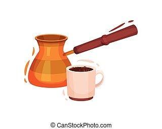 coffee., tasse, illustration, arrière-plan., vecteur, turc, blanc