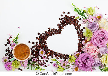 coffee., tasse, salutation, valentin, fleurs, jour, carte