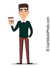 coffee., tazza, giovane, triste, presa a terra, uomo affari, bello, casuale, far male, vestiti